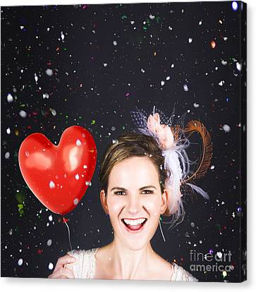 Happy Bride In Confetti During Wedding Celebration Canvas Print