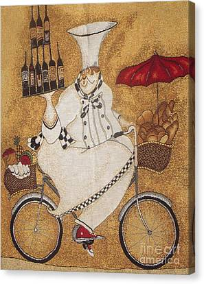 Happy Chef On The Bike Canvas Print by Vesna Antic