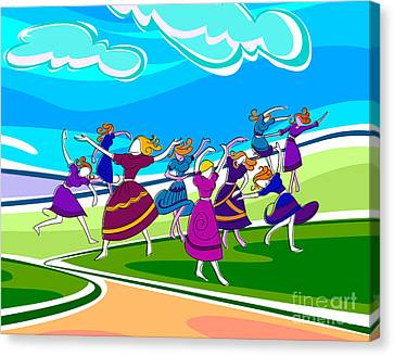 Happy Dancing Girls Canvas Print by Bedros Awak