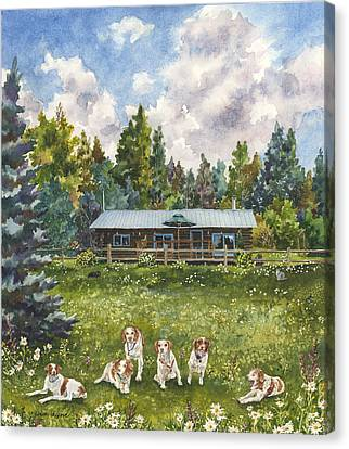Canvas Print featuring the painting Happy Dogs by Anne Gifford