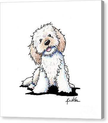 Happy Doodle Puppy Canvas Print by Kim Niles