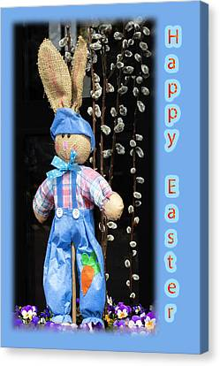 Happy Easter Bunny Boy Decoration Greeting Card Canvas Print by Mother Nature