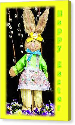 Happy Easter Bunny Girl Decoration Greeting Card Canvas Print by Mother Nature