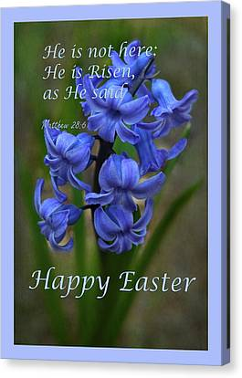 Canvas Print featuring the photograph Happy Easter Hyacinth by Ann Bridges