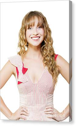 Happy Female Business Worker On White Background Canvas Print