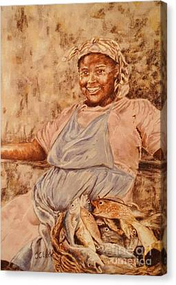 Happy Fish Seller Canvas Print