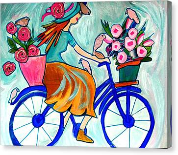 Bicycle With Flowers Canvas Print - Happy Flower Lady by Nikki Dalton