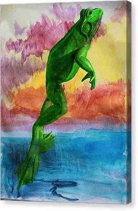 Canvas Print featuring the photograph Happy Frog by Michael Moriarty