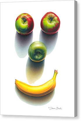 Canvas Print featuring the drawing Happy Fruit Shadows by Donna Basile
