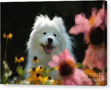 Happy Gal In The Garden Canvas Print