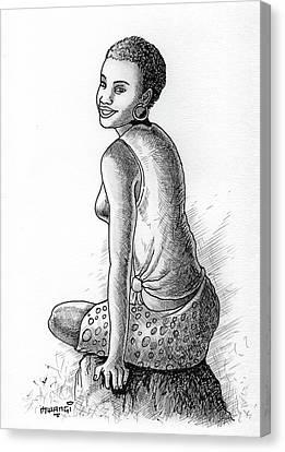 Biro Art Canvas Print - Happy Girl by Anthony Mwangi