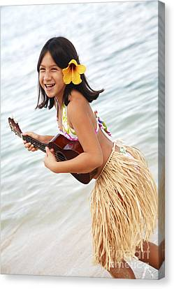 Happy Girl With Ukulele Canvas Print by Brandon Tabiolo - Printscapes