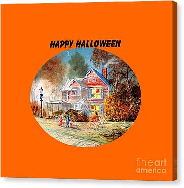 Canvas Print featuring the painting Happy Halloween by Bill Holkham