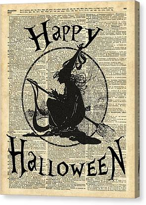 Happy Halloween Witch With Broom Dictionary Artwork Canvas Print by Jacob Kuch