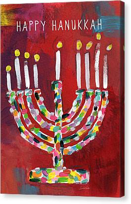 Happy Hanukkah Colorful Menorah Card- Art By Linda Woods Canvas Print by Linda Woods