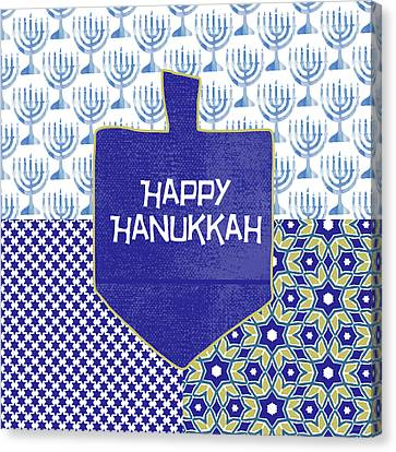 Happy Hanukkah Dreidel 1- Art By Linda Woods Canvas Print