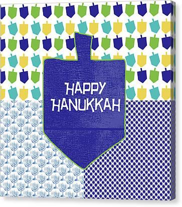 Happy Hanukkah Dreidel 2- Art By Linda Woods Canvas Print by Linda Woods