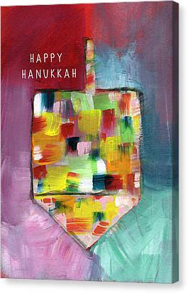 Happy Hanukkah Dreidel Of Many Colors- Art By Linda Woods Canvas Print by Linda Woods