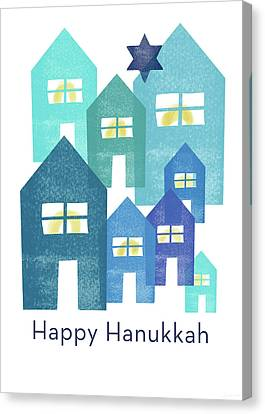 Friend Holiday Card Canvas Print - Happy Hanukkah Houses- Art By Linda Woods by Linda Woods