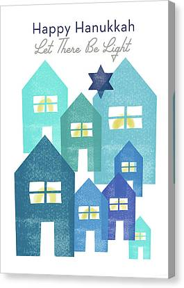 Friend Holiday Card Canvas Print - Happy Hanukkah Light - Art By Linda Woods by Linda Woods