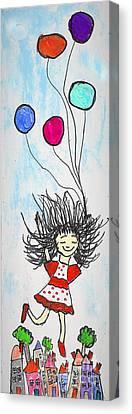 Floating Girl Canvas Print - Happy Happy Happy by Marlena Colino Leach