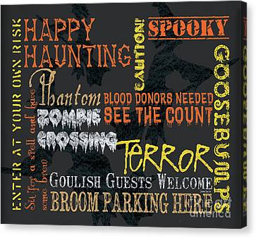 Skull Canvas Print - Happy Haunting Typography by Debbie DeWitt