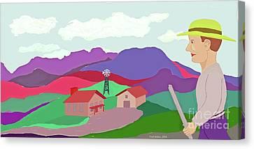Happy Highland Farm Canvas Print by Fred Jinkins