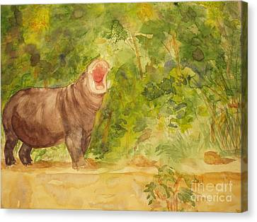 Happy Hippo Canvas Print by Vicki  Housel