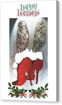 Canvas Print featuring the digital art Happy Holidays - Christmas Card by Carolyn Weltman