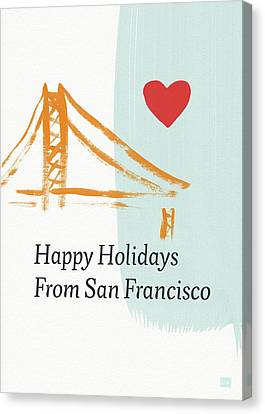 Religious Canvas Print - Happy Holidays San Francisco- Art By Linda Woods by Linda Woods