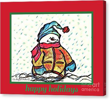 Happy Holidays Snowman Canvas Print by MaryLee Parker