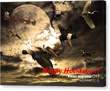 Happy Holidays . Winter Migration Canvas Print by Wingsdomain Art and Photography