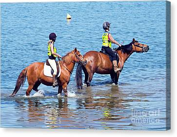 Happy Horses And Their Riders Canvas Print by Terri Waters