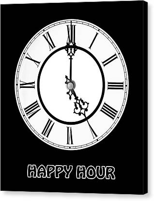 Designs On Face Canvas Print - Happy Hour - On Black by Gill Billington
