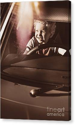 Happy Kid Pretending To Drive Vintage Car Canvas Print by Jorgo Photography - Wall Art Gallery