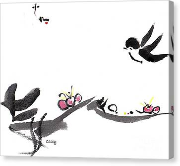 Swallow Canvas Print - Happy Little Swallow by Casey Shannon