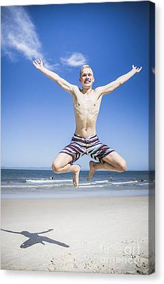 Youthful Canvas Print - Happy Man Star Jumping On The Australia Beach by Jorgo Photography - Wall Art Gallery