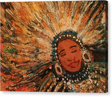 Happy Mardi Gras Woman With Feathers II Canvas Print by Anne-Elizabeth Whiteway
