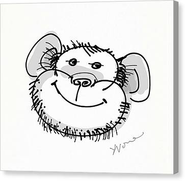 Year Of The Monkey Canvas Print - Happy Monkey by Yvonne Wright
