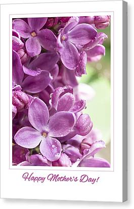 Happy Mother's Day Purple Lilac Canvas Print by Mariola Szeliga