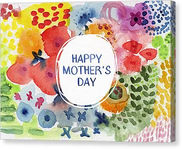 Happy Mothers Day Watercolor Garden- Art By Linda Woods Canvas Print by Linda Woods