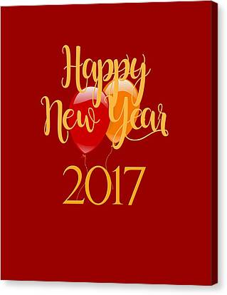 Canvas Print featuring the digital art Happy New Year 2017 With Balloons by Heidi Hermes