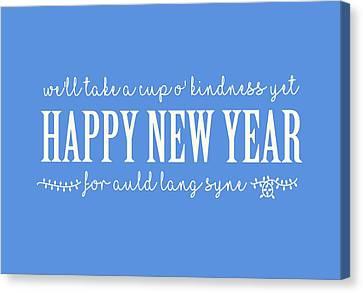 Canvas Print featuring the digital art Happy New Year Auld Lang Syne Lyrics by Heidi Hermes