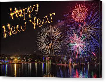 Happy New Year  Written With  Firework On Firework Background Canvas Print by Iacob Danny