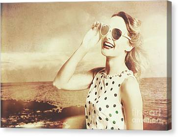 Happy Nostalgic Pinup Traveller At Redcliffe Beach Canvas Print