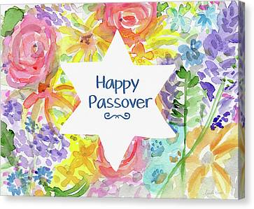Jewish Canvas Print - Happy Passover Floral- Art By Linda Woods by Linda Woods