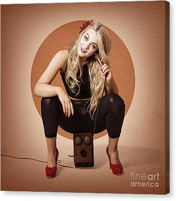 Happy Pin Up Girl Talking On Retro Box Telephone Canvas Print