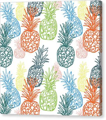Happy Pineapple- Art By Linda Woods Canvas Print by Linda Woods