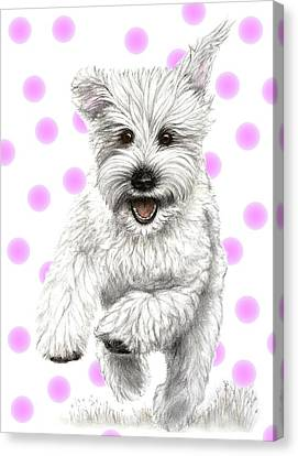 Canvas Print featuring the drawing Happy Pink Polka Dots Doggy  by Heidi Kriel