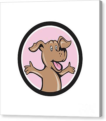 Happy Puppy Arms Out Circle Cartoon Canvas Print